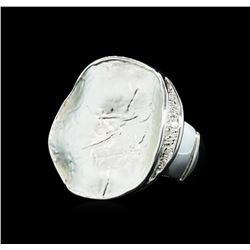 Round Medallion Ring - Rhodium Plated