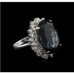 14KT White Gold 22.43 ctw Topaz and Diamond Ring