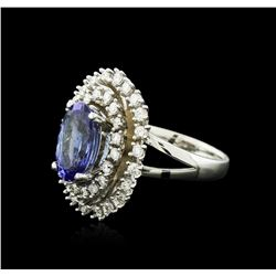 14KT White Gold 4.20 ctw Tanzanite and Diamond Ring