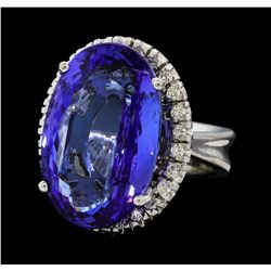 21.80 ctw Tanzanite and Diamond Ring - 14KT White Gold