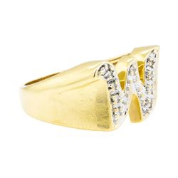 "0.05 ctw Diamond ""W"" Ring - 14KT Yellow Gold"