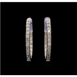 0.55 ctw Diamond Earrings - 14KT White Gold