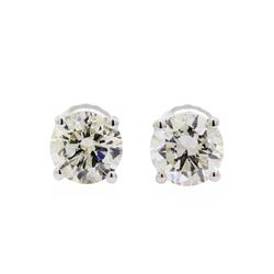 1.45 ctw Diamond Stud Earrings - 14KT White Gold
