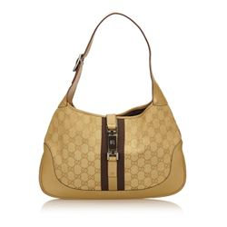 Gucci Gold Brown Canvas Leather Jacquard Jackie Bag