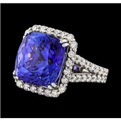 GIA Cert 14.91 ctw Tanzanite and Diamond Ring - 14KT White Gold