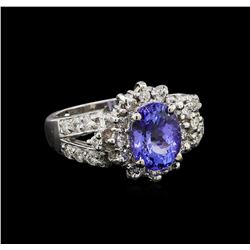 2.48 ctw Tanzanite and Diamond Ring - 14KT White Gold