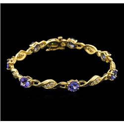 7.00 ctw Tanzanite and Diamond Bracelet - 14KT Yellow Gold