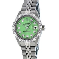 Rolex Ladies SS Green Diamond Pyramid Bezel Datejust Wristwatch