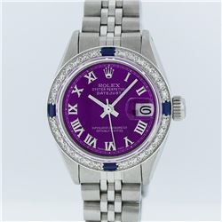 Rolex Stainless Steel Purple Roman Diamond and Sapphire DateJust Ladies Watch