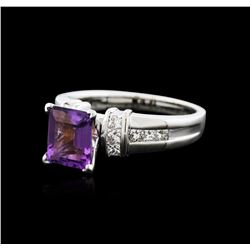 14KT White Gold 3.00 ctw Amethyst and Diamond Ring
