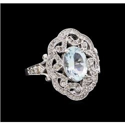 1.92 ctw Aquamarine and Diamond Ring - 14KT White Gold