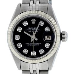 Rolex Ladies Stainless Steel Black Diamond And White Gold Datejust Wristwatch
