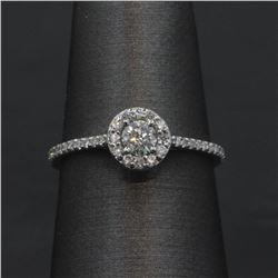 0.43 ctw Diamond Engagement Ring - 14KT White Gold