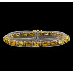 14KT Yellow Gold 13.23 ctw Yellow Sapphire and Diamond Bracelet