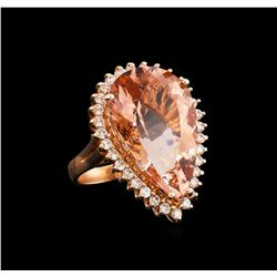 14KT Rose Gold 19.63 ctw GIA Certified Morganite and Diamond Ring