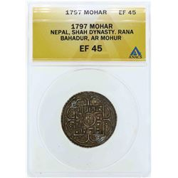 1797 Nepal Shah Dynasty Mohoar Coin ANACS EF45