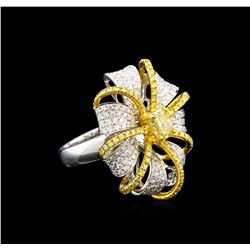 3.20 ctw Fancy Yellow Diamond Ring - 18KT Two-Tone Gold