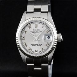Rolex SS Silver Roman With Square Track Oyster Band DateJust Ladies Watch