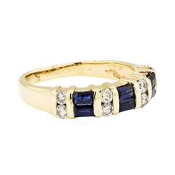 0.60 ctw Sapphire and Diamond Ring - 14KT Yellow Gold