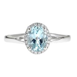 1.21 ctw Aquamarine and Diamond Ring - 14KT White Gold