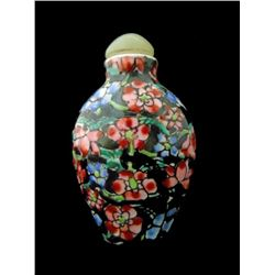 Chinese Porcelain Floral Snuff Bottle