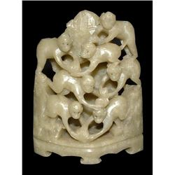Chinese Carved Stone Monkeys Pen Stand