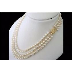 3 Rows 8-9mm natural white Freshwater pearl necklace 18-20""