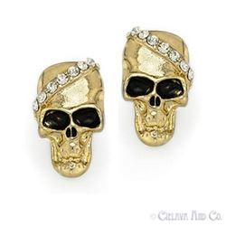 Skull Charm Cubic Zirconia CZ Crystal Earrings Fashion Jewelry