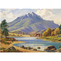 20thc Signed Oil Painting, Scottish Loch Landscape