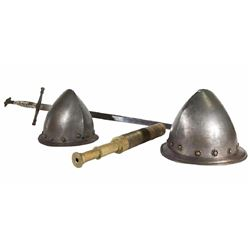 2 Early Pewter Helmets Together With English