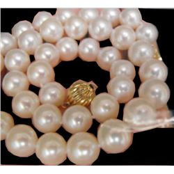 "AAA 9-10MM White Akoya round Pearl Necklace 18"" 14k gold clasp"