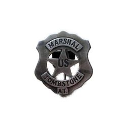 Marshal Tombstone Badge With Pin Back Sheriff Western Police