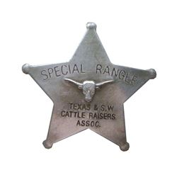Special Texas Ranger & S.w. Cattle Badge With Pin Back Western Sheriff