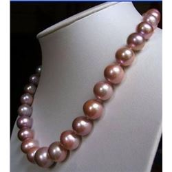 18inch 10-11mm Akoya South Sea Pink Purple Pearl Necklace 14k Gold Clasp