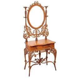 ANTIQUE NATURAL CURLICUE WICKER VANITY