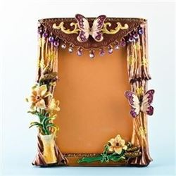 "Faberge Inspired 5.5"" X 4.5"" Curtains With Butterfly And Flowers Russian Antique Style Faberge Pictu"