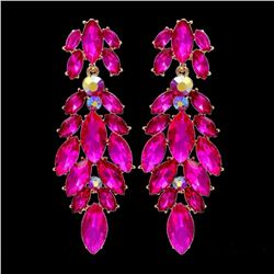 18k Gold Plated Fuchsia Crystal Rhinestone Chandelier Drop Dangle Earrings