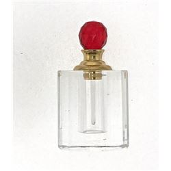 Red Crystal Perfume Bottle 8010R Faceted Cut Glass Decorative Luxury Collectible