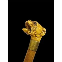 Early Composition Snarling Dog Walking Stick Cane