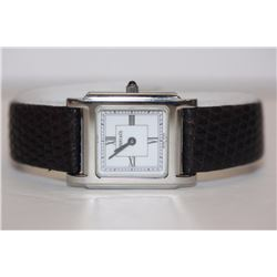 Authentic Tiffany & Co. Women's Sterling Silver Square Watch With Leather Strap