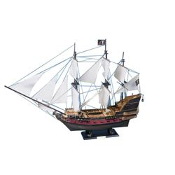 "Blackbeard's Queen Anne's Revenge Model Pirate Ship 36"" - White Sails"