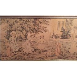 Early 1900's Victorian Framed Tapestry