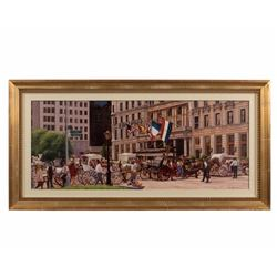 "Oil Painting ""the Plaza"" - Signed Alexander"