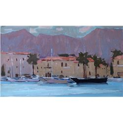 Original art oil painting Seascape Sunset Greece by Anna Gusarova