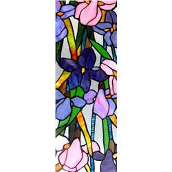 Tiffany-Style Stained Glass Window Panel, Iris Flowers