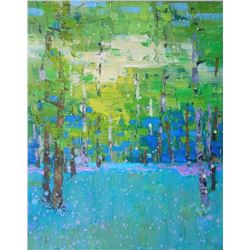 Impressionism oil painting green forest Plein Air Sunny Small Trees Landscape
