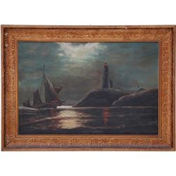 c1900 Lighthouse In Moonlight Oil Painting