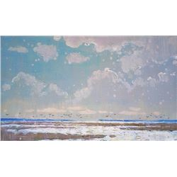Impressionism Oil Painting Clouds Plein Air Summer Small Sunny Landscape