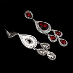 Rhodium Plated Red Crystal Rhinestone Chandelier Drop Dangle Earrings New