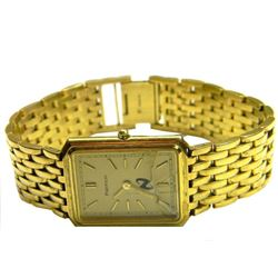Mens Tiffany & Co Portfolio rectangle tank gold plated plaque dress watch